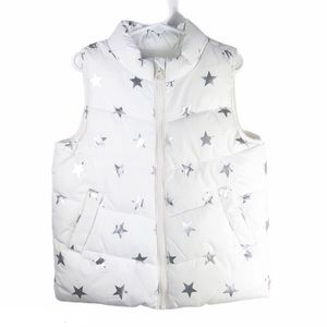 Crazy 8 White Puffer Vest Silver Stars Small 5/6